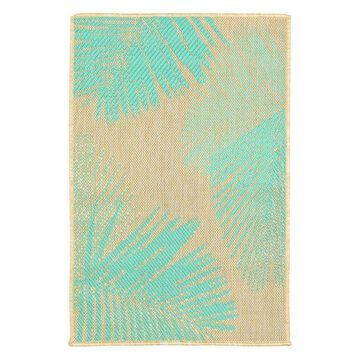 Trans Ocean Terrace Palm 1792/73 Floral Outdoor Rug, Turquoise, 4'10