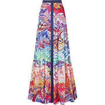 Mary Katrantzou - Tiered Printed Twill Maxi Skirt - Purple