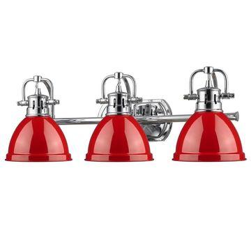 Golden Lighting Duncan Chrome 3-light Bath Vanity With Red Shades