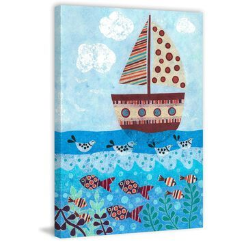 Marmont Hill - Handmade Sunny Sailing Print on Wrapped Canvas
