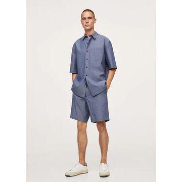 MANGO MAN - Relaxed-fit cotton shirt indigo blue - L - Men