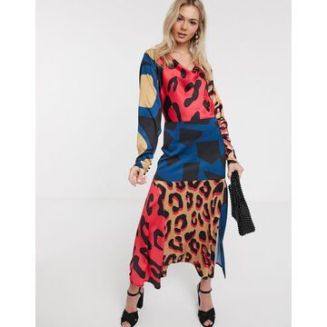 Liquorish satin slip dress in multi abstract animal print