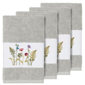Authentic Hotel and Spa Grey Turkish Cotton Wildflowers Embroidered Hand Towels (Set of 4)