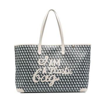geometric-print leather tote bag