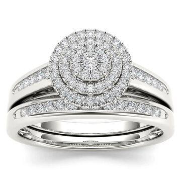 De Couer 1/3ct TDW Diamond Cluster Halo Bridal Set (Size 7.5)