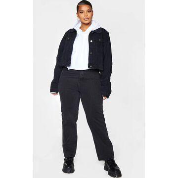 PrettyLittleThingPlus Black Cropped Denim Jacket