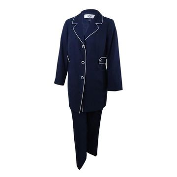 Le Suit Women's Petites Piping-Trim Pantsuit - Navy/Vanilla Ice