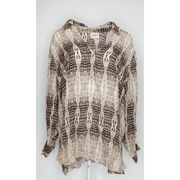 Haute Hippie Women's Plus Sz Top 3X Printed V-Neck Pullover Blouse Beige A370024