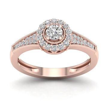 De Couer IGI Certified 1/3ct TDW Diamond Halo Ring (H-I, I2) - Pink