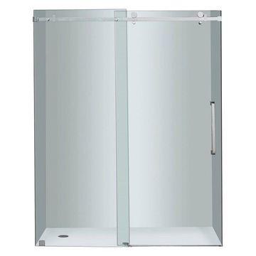 Aston Moselle Completely Frameless Sliding Shower Door, Chrome, 60