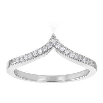 10kt White Gold 1/10ct. TDW Diamond Chevron V-Shaped Band Ring by Beverly Hills Charm