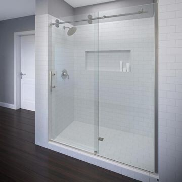 Basco Vinesse Lux 57-in to 59-in W Frameless Brushed Nickel Bypass/Sliding Shower Door