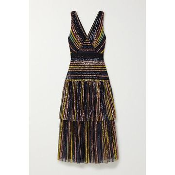 Self-Portrait - Grosgrain-trimmed Tiered Striped Sequined Tulle Midi Dress - Black
