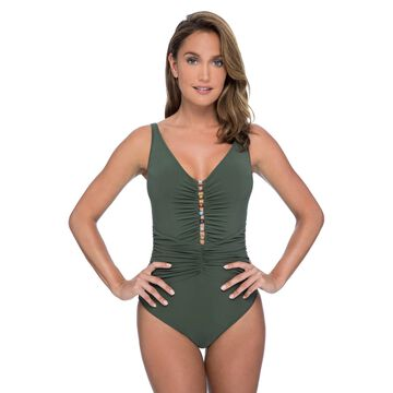 Profile by Gottex Swimwear Murano Olive Beaded Over The Shoulder One Piece Swimsuit Size 14