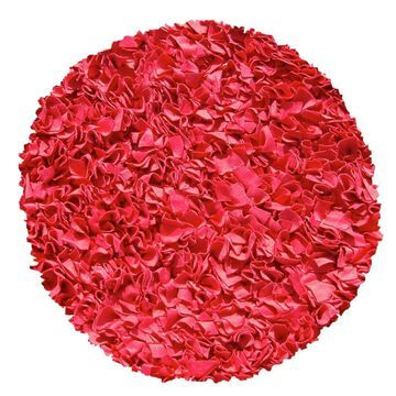 The Rug Market Shaggy Raggy 4 x 4 Shag Red Round Solid Area Rug   02215R