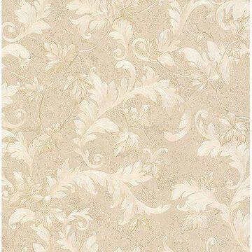 Brewster Dimitri Beige Scroll Wallpaper