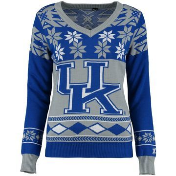 Kentucky Wildcats Klew Women's Ugly Christmas V-Neck Sweater - Royal