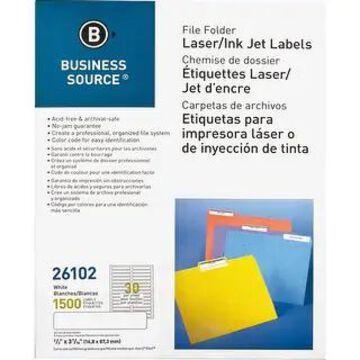 Business Source Laser/Inkjet File Folder Labels - White (White)