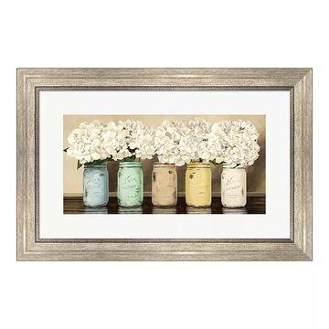 "Metaverse Art ""Hydrangeas in Mason Jars"" Framed Wall Art, Multicolor"