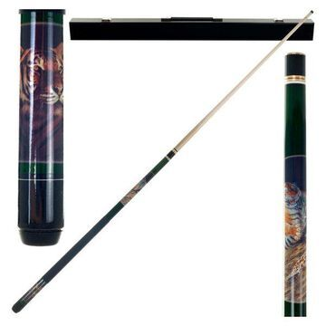 Bengal Tiger 2 Piece Billiard Cue Stick with Case by Trademark Gameroom