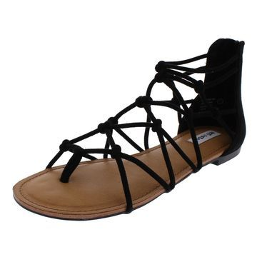 Not Rated Genevieve Women's Faux Suede Thong Caged Gladiator Sandals Shoes