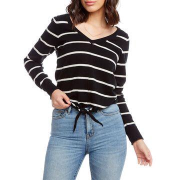 Striped Long-Sleeve Tie-Front Linen Sweater