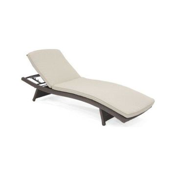 Jeco Wl, 1, Cl1, Fs006 Wicker Adjustable Chaise Lounger w/ Tan Cushion
