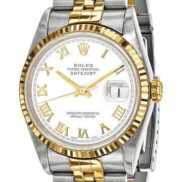 Quality Pre-Owned Rolex Men's Steel and 18k Yellow Gold White Dial Watch