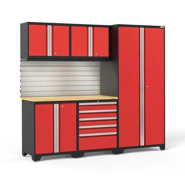 NewAge Products Pro Series 92-in W x 85.25-in H Deep Red Steel Garage Storage System | 58616