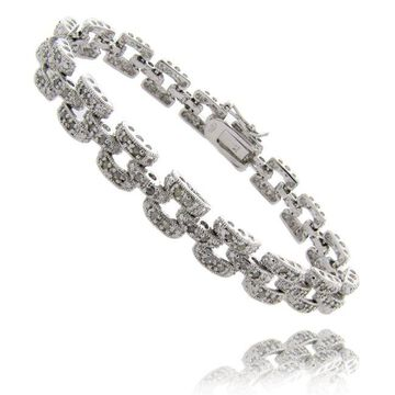 Finesque Sterling Silver 1ct Diamond Geometric Square Bracelet