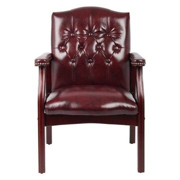 Boss Traditional Oxblood Vinyl Guest Chair With Mahogany Finish, Red