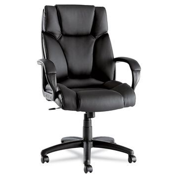 Alera Fraze Executive High-Back Swivel/Tilt Leather Chair, Supports up to 275 lbs, Black Seat/Black Back, Black Base - Clear (Clear)