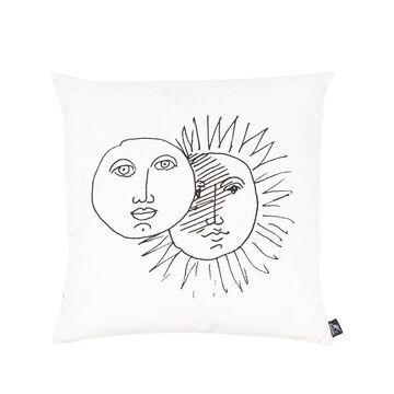 reversible illustrated print silk cushion