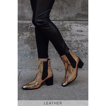 Hero II Turmeric Brown Snake-Embossed Leather Mid-Calf High Heel Boots | Lulus