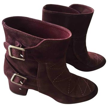 Laurence Dacade Burgundy Suede Ankle boots