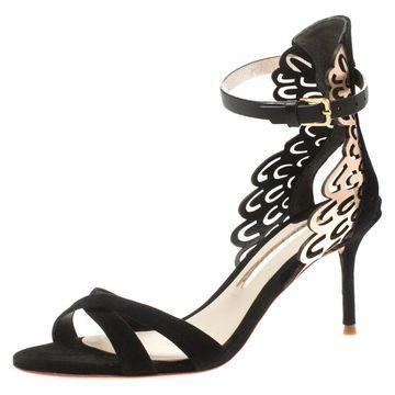 Sophia Webster Black Suede and Laser Cut Rose Gold Leather Micah Open Toe Sandals Size 36.5