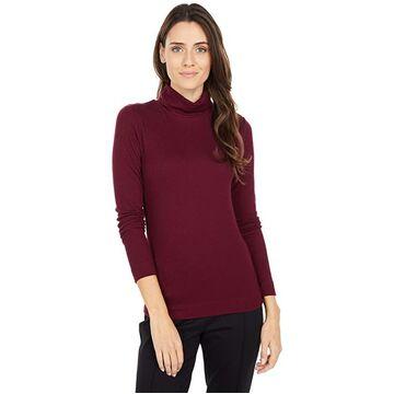 Three Dots Refined Rib L/S Turtleneck (Burgundy) Women's Long Sleeve Pullover