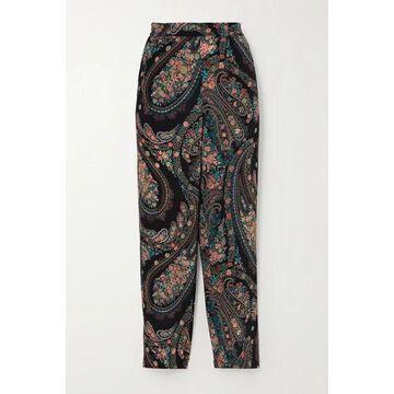Etro - Cropped Paisley-print Silk-crepe Slim-leg Pants - Black