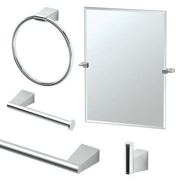 Gatco Bleu 5-Piece Bathroom Accessory Kit with Mirror