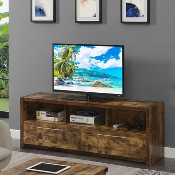 """Convenience Concepts Newport Marbella 2 Drawer 60"""" TV Stand with Shelves, Barnwood"""