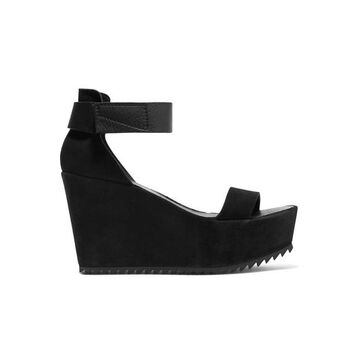 Pedro Garcia - Fania Suede And Textured-leather Wedge Sandals - Black