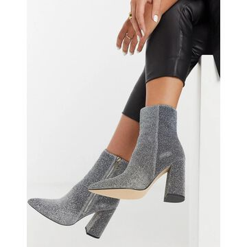 London Rebel pointed heeled ankle boot in silver glitter-Multi
