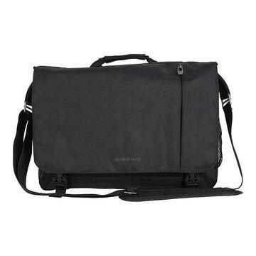 Heritage Dual Compartment Flapover Laptop Business Messenger Bag, Black