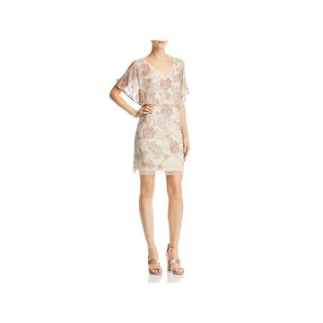Aidan Mattox Womens Cocktail Dress Sequiined Mesh