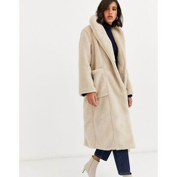 Y.A.S oversized faux fur maxi coat-Cream