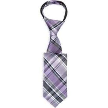 Joseph & Feiss Boys Lavender Plaid Zipper Tie