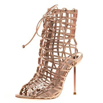 Sophia Webster Metallic Rose Gold Leather Delphine Peep Toe Cage Sandals Size 35.5