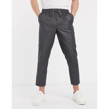 New Look pinstripe smart sweatpants in mid gray
