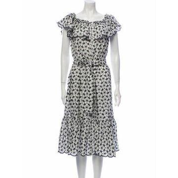 Patterned Midi Length Dress w/ Tags White