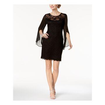CONNECTED APPAREL Womens Black Lace & Chiffon Bell Sleeve Jewel Neck Above The Knee Sheath Cocktail Dress Size: 10